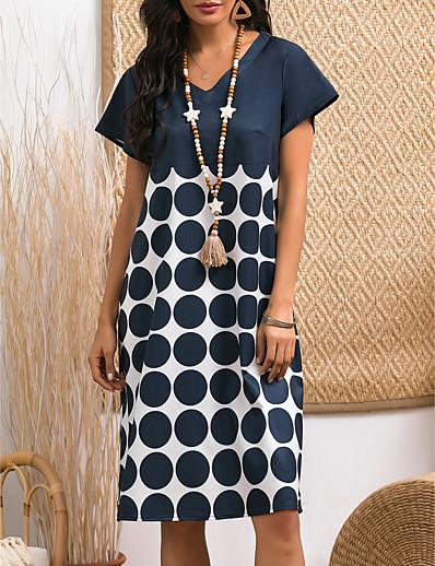cheap Casual Dresses-Women's Shift Dress Knee Length Dress - Short Sleeve Polka Dot Summer V Neck Casual 2020 Navy Blue M L XL XXL 3XL