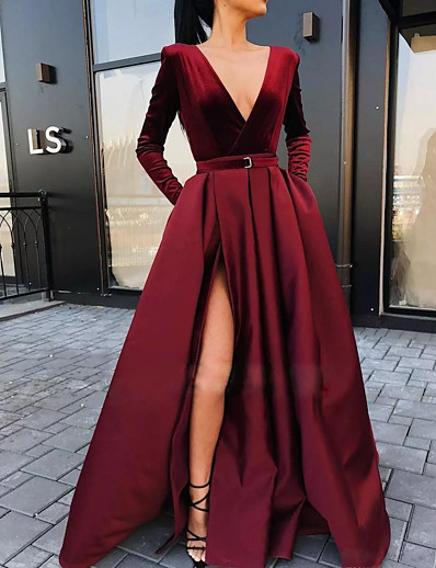 cheap Maxi Dresses-Women's Swing Dress Maxi long Dress - Long Sleeve Solid Color Split Fall Winter V Neck Casual Loose 2020 Wine S M L XL