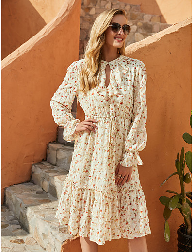 cheap Exclusive-Women's A-Line Dress Knee Length Dress - Long Sleeve Floral Fall Winter Elegant Casual Going out Flare Cuff Sleeve Chiffon 2020 Beige S M L XL