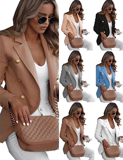 cheap Outerwear-Women's Blazer Solid Colored Work Spandex Causal Normal Coat Tops White / Notch lapel collar