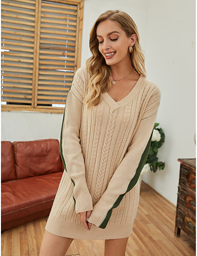 cheap Exclusive-Women's Sweater Jumper Dress Short Mini Dress - Long Sleeve Color Block Knitted Fall Winter V Neck Casual Loose 2020 Beige S M L XL