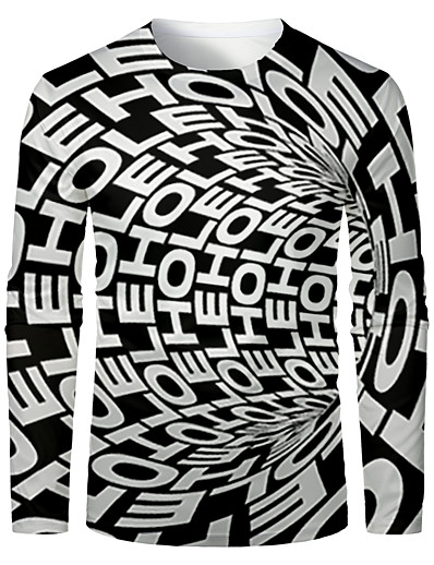 cheap MEN-Men's 3D Abstract Graphic T-shirt Long Sleeve Daily Tops Basic Round Neck Black / White