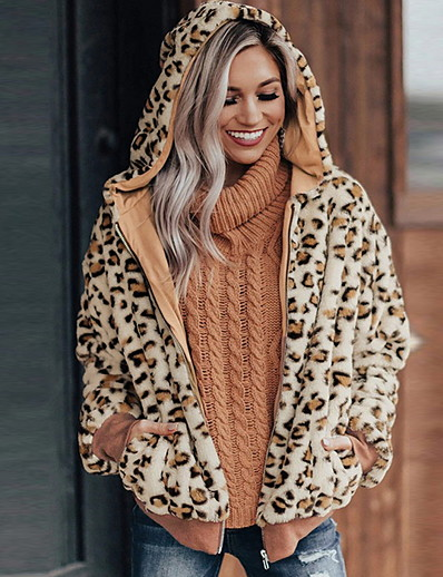 cheap Coats & Trench Coats-Women's Open Front Faux Fur Coat Regular Leopard Daily Basic Khaki Brown S M L XL