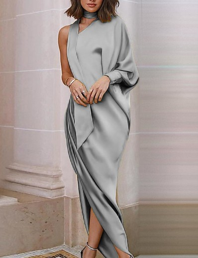 cheap Party Dresses-Women's Sheath Dress Maxi long Dress - Long Sleeve Solid Color Fall One Shoulder Work Casual Loose 2020 Red Yellow Gray S M L XL