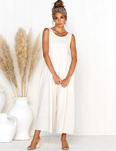 cheap Jumpsuits & Rompers-Women's White Black Blue Jumpsuit Solid Colored Patchwork / Wide Leg
