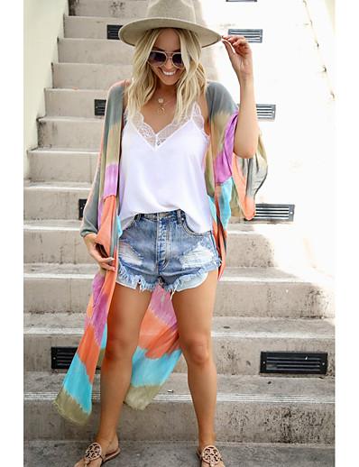 cheap Cover Ups-Women's Colorful Swimwear Set Cover-Up Swimsuit Slim Rainbow Swimwear Bathing Suits Rainbow / Padless