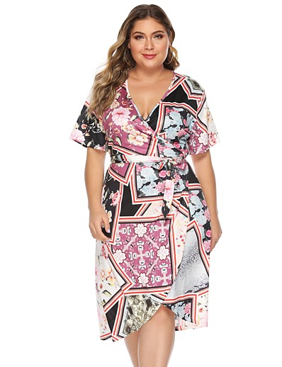 cheap PLUS SIZE-Women's Shift Dress Knee Length Dress - Short Sleeve Print Print Summer V Neck Vintage Daily Weekend Slim 2020 Rainbow L XL XXL XXXL XXXXL