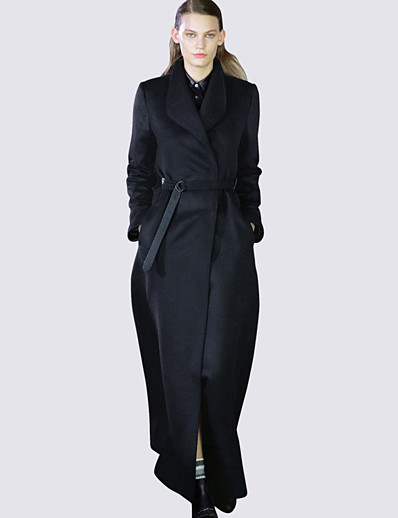 cheap OUTERWEAR-Women's Fall & Winter Shirt Collar Coat Long Solid Colored Daily Basic Black Navy Blue S M L XL