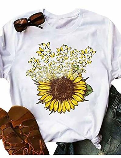 cheap TOPS-t shirts for women graphic,sunflower tees women short sleeve round neck summer casual t shirt tops
