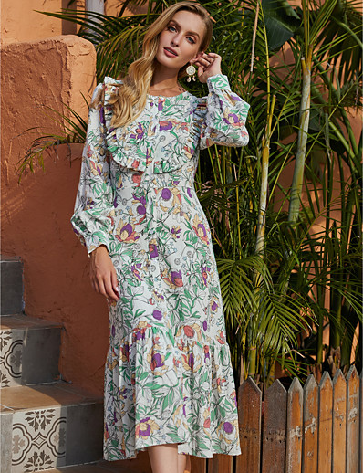 cheap 2020 F/W-Women's A-Line Dress Midi Dress - Long Sleeve Floral Ruffle Print Fall Winter Casual Daily Going out Lantern Sleeve 2020 Green S M L XL
