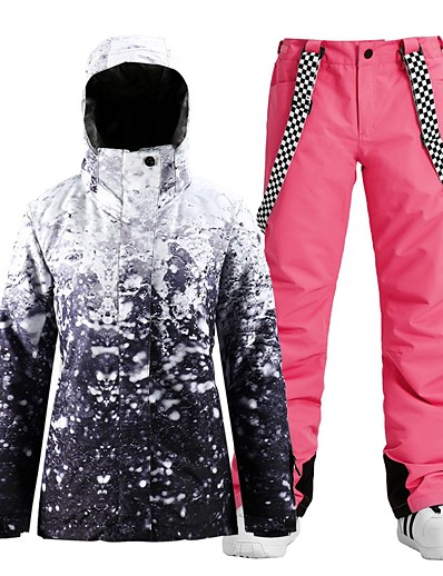 cheap Ski & Snowboard-Women's Waterproof Windproof Warm Breathable Ski Jacket with Bib Pants Winter Clothing Suit for Skiing Snowboarding Winter Sports