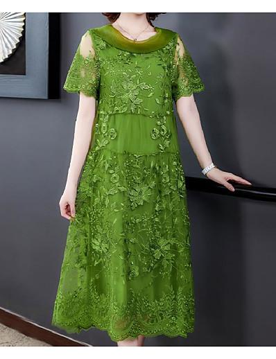 cheap Plus Size Dresses-Women's A-Line Dress Midi Dress - Short Sleeve Print Print Summer Plus Size Hot Vintage Capped Loose 2020 Purple Green Gray M L XL XXL 3XL 4XL
