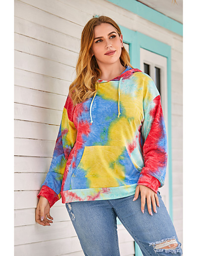 cheap Plus Size Tops-Women's Plus Size Daily Pullover Hoodie Sweatshirt Tie Dye Oversized Basic Hoodies Sweatshirts  Loose Red Yellow Green