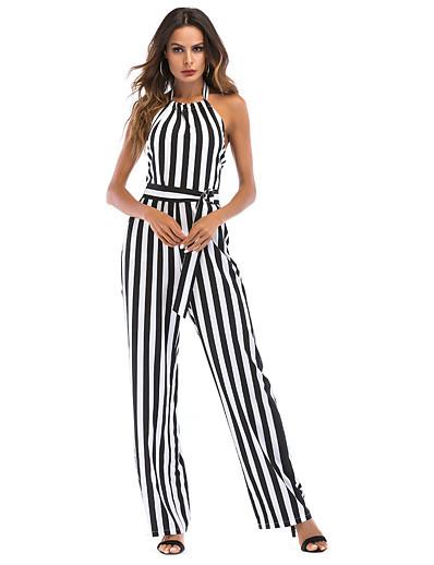 cheap Jumpsuits & Rompers-Women's Basic Black Jumpsuit Striped