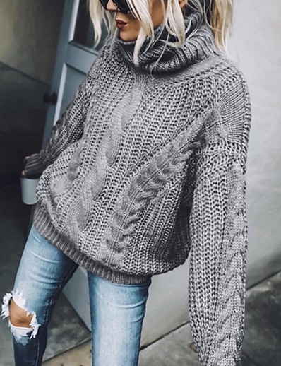 cheap Sweaters & Cardigans-Women's Basic Knitted Solid Color Plain Pullover Acrylic Fibers Long Sleeve Sweater Cardigans Turtleneck Fall Blue Brown Gray