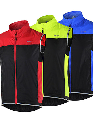 cheap Running, Jogging & Walking-Arsuxeo Men's Sleeveless Windbreaker Running Vest Gilet Full Zip Outerwear Safety Vest Top Athletic Winter High Visibility Reflective Waterproof Fitness Gym Workout Basketball Running Cycling