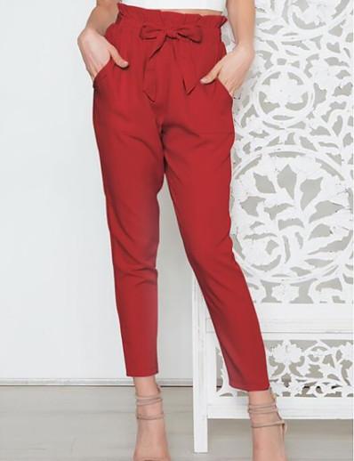 abordables Bas pour femmes-Femme Sportif Chino Pantalon Couleur Pleine Rouge Rose Claire Vert Véronèse Fuchsia Gris Clair