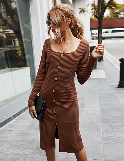 cheap Sweater Dresses-Women's Sweater Jumper Dress Knee Length Dress Gray White Brown Long Sleeve Solid Color Button Fall Square Neck Elegant Going out 2021 S M L XL