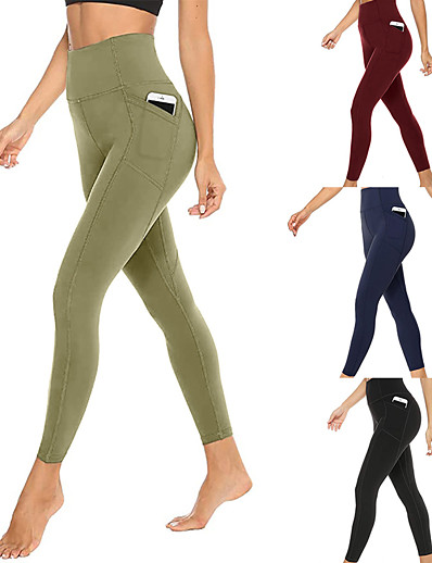 cheap Running, Jogging & Walking-Women's High Waist Running Tights Leggings Compression Pants Athletic Bottoms with Phone Pocket Winter Yoga Fitness Gym Workout Running Jogging Tummy Control Butt Lift Breathable Sport Solid Color