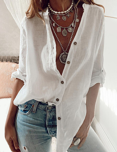 cheap Blouses & Shirts-Women's Blouse Shirt Solid Colored Long Sleeve Shirt Collar Tops Cotton Basic Top White Black Blue