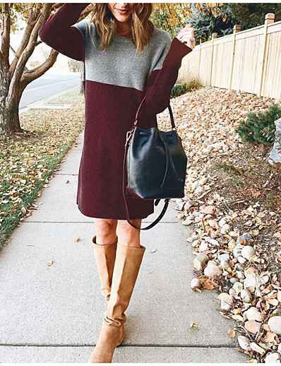 cheap White Dresses-Women's Sweater Jumper Dress Knee Length Dress - Long Sleeve Color Block Fall Winter Casual Going out Slim 2020 Black Wine Army Green Brown Navy Blue S M L XL XXL 3XL