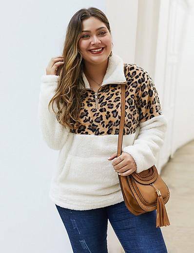 cheap Plus Size Sweaters-Women's Plus Size Pullover Sweatshirt Leopard Cheetah Print Daily Basic Hoodies Sweatshirts  White Black Army Green