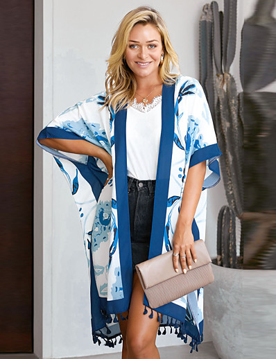cheap Cover Ups-Women's Irregular Style Cover-Up Swimsuit Tassel Fringe Print Floral Print Swimwear Bathing Suits Black Blue Orange / Padless