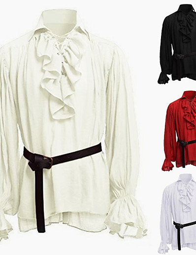 cheap Historical & Vintage Costumes-Knight Ritter Outlander Punk & Gothic Medieval Renaissance 17th Century Shirt Men's Costume Red / White / Black Vintage Cosplay Party