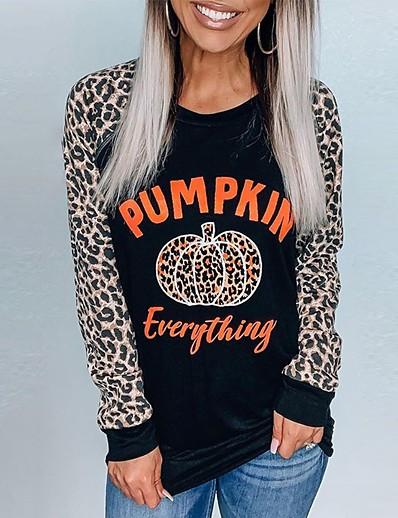 cheap HALLOWEEN 2020-Women's Halloween Pullover Sweatshirt Letter Pumpkin Halloween Hoodies Sweatshirts  Black