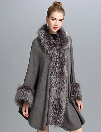 cheap OUTERWEAR-Women's Fall & Winter Open Front Stand Collar Cloak / Capes Regular Solid Colored Daily Basic Fur Trim Black Gray One-Size / Loose
