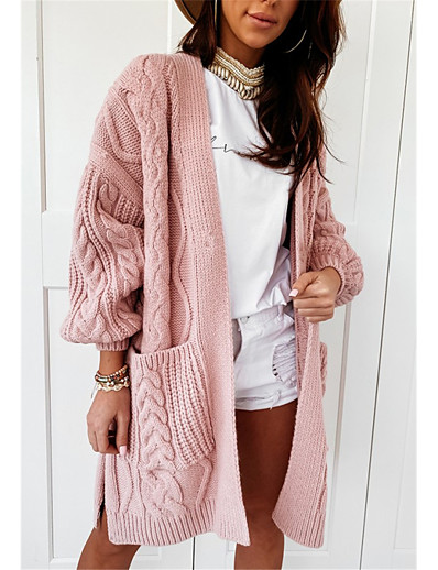 cheap Sweaters & Cardigans-Women's Basic Knitted Hollow Out Solid Color Plain Cardigan Acrylic Fibers Long Sleeve Sweater Cardigans V Neck Fall Winter Blushing Pink Beige Gray