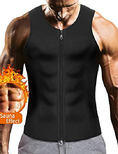 cheap Running, Jogging & Walking-mens sauna waist trainer corset vest with zipper for weight loss hot sweat neoprene body shaper gym workout tank top (black body slimming vest, 2xl)