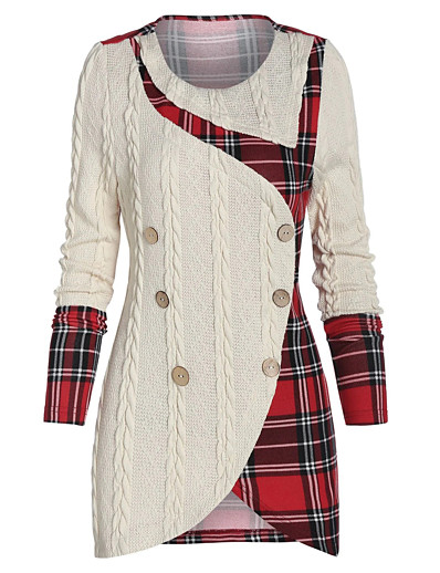 cheap Bodycon Dresses-Women's Sheath Dress Short Mini Dress - Long Sleeve Plaid Layered Ruched Ruffle Fall Winter Plus Size Hot Vintage Sexy Going out 2020 Beige L XL XXL 3XL