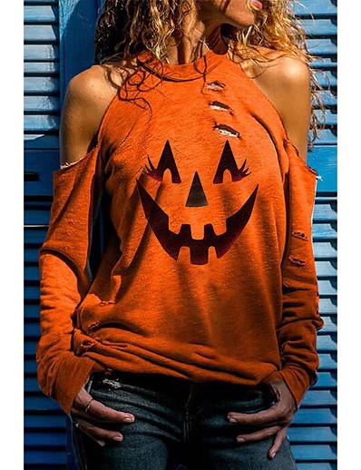 abordables Sweats à capuche & sweat-shirts-Femme Halloween Sweat à capuche Crânes Halloween Pulls Capuche Pulls molletonnés Noir Rouge Jaune