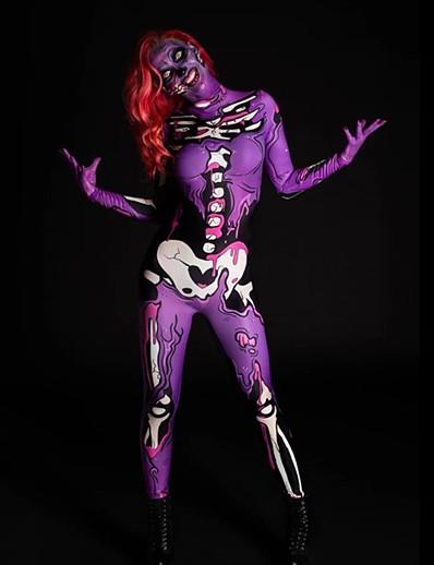 cheap Jumpsuits & Rompers-Women's Punk & Gothic Purple Light Blue Jumpsuit Abstract Print