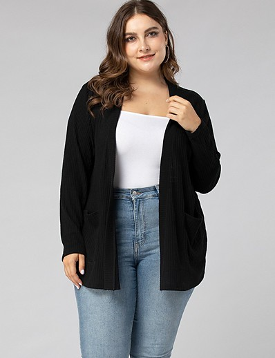 cheap Plus Size Sweaters-Women's Basic Knitted Solid Color Plain Cardigan Long Sleeve Plus Size Loose Sweater Cardigans V Neck Fall Winter Black