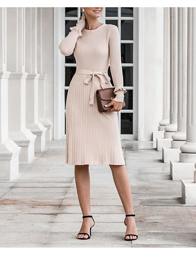 cheap Sweater Dresses-Women's Sweater Jumper Dress Knee Length Dress - Long Sleeve Fall Winter Work 2020 Beige One-Size