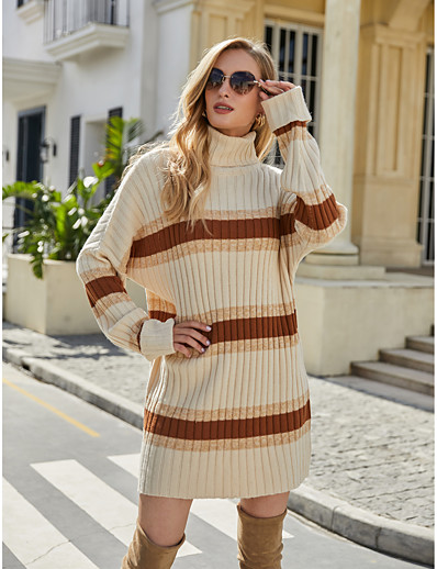 cheap Sweater Dresses-Women's Basic Knitted Striped Color Block Pullover Acrylic Fibers Long Sleeve Sweater Cardigans Turtleneck Fall Winter Beige