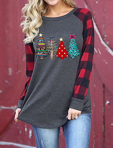 cheap Christmas Sweater-Women's Pullover Sweatshirt Plants Daily Christmas Hoodies Sweatshirts  Cotton Loose Gray