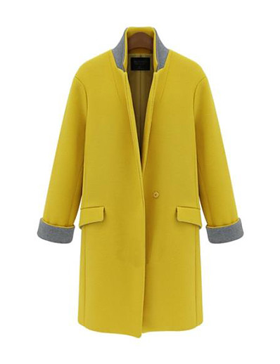 cheap OUTERWEAR-Women's Fall & Winter Single Breasted Coat Regular Solid Colored Daily Basic Yellow Dusty Blue S M L XL / Slim