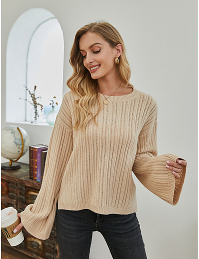 cheap 2021 Trends-Women's Basic Solid Color Pullover Acrylic Fibers Long Sleeve Sweater Cardigans Crew Neck Fall Winter Beige