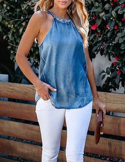cheap Tank Tops-Women's Going out Tank Top Solid Colored Lace up Denim Halter Neck Tops Slim Cotton Business Basic Top Blue
