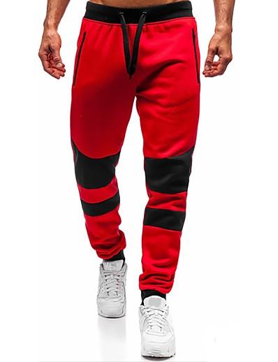 cheap Men's Bottoms-Men's Slim Sweatpants Pants Solid Colored Short Red Dark Gray