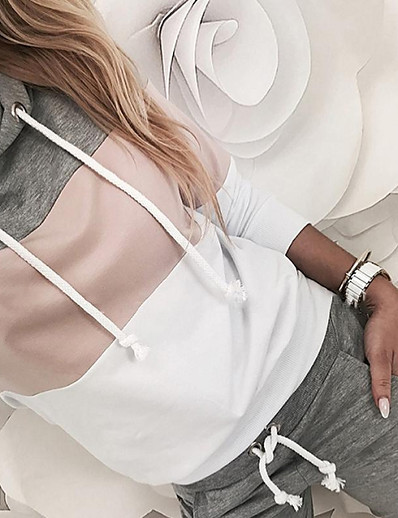cheap Two Piece Set-Women's 2 Piece Set Patchwork Hoodie Color Block Sport Athleisure Clothing Suit Long Sleeve Breathable Soft Oversized Comfortable Exercise & Fitness Everyday Use Daily Outdoor