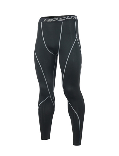 cheap Running, Jogging & Walking-Arsuxeo Men's Running Tights Leggings Compression Pants Athletic Base Layer Bottoms Stripe Spandex Elastane Fitness Gym Workout Marathon Running Jogging Breathable Quick Dry Soft Normal Sport Stripes
