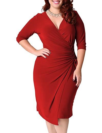 cheap Plus size-Women's Swing Dress Knee Length Dress Black Blue Red Green Half Sleeve Solid Color Patchwork Fall V Neck Elegant Cotton 2021 L XL XXL 3XL 4XL 5XL / Plus Size