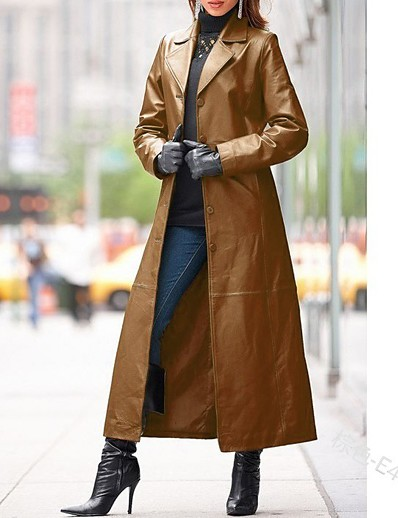 cheap Jackets-Women's Shirt Collar Trench Coat Maxi Solid Colored Daily Basic Black Blue Wine Brown S M L XL / Work