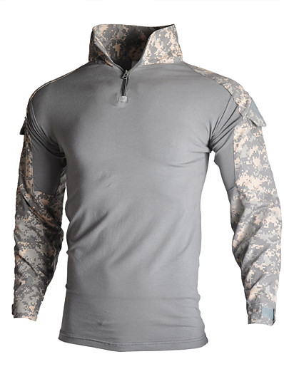 cheap SPORTSWEAR-Men's Hunting T-shirt Outdoor Thermal Warm Windproof Breathable Quick Dry Autumn / Fall Spring Summer Camo Zip Top Top Clothing Suit Cotton Long Sleeve Camping / Hiking Hunting Fishing Camouflage