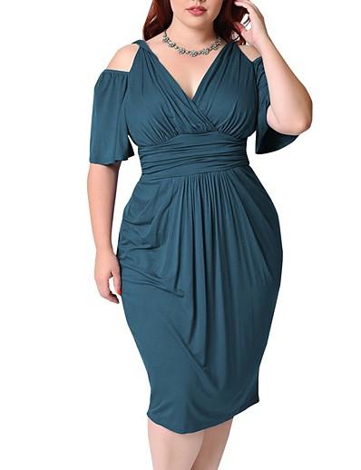 cheap Plus size-Women's Plus Size Dress A Line Dress Knee Length Dress Half Sleeve Solid Color Ruched Elegant Summer White Black Blue L XL XXL 3XL 4XL