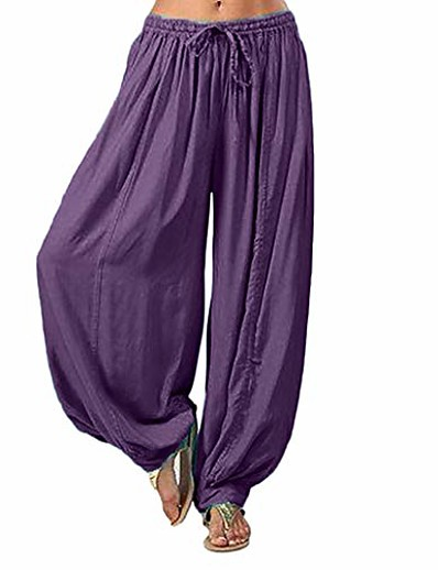 cheap Exercise, Fitness & Yoga-aihihe wide leg pants for women plus size long trousers high waist harem yoga pilates pants baggy gypsy hippie pants purple